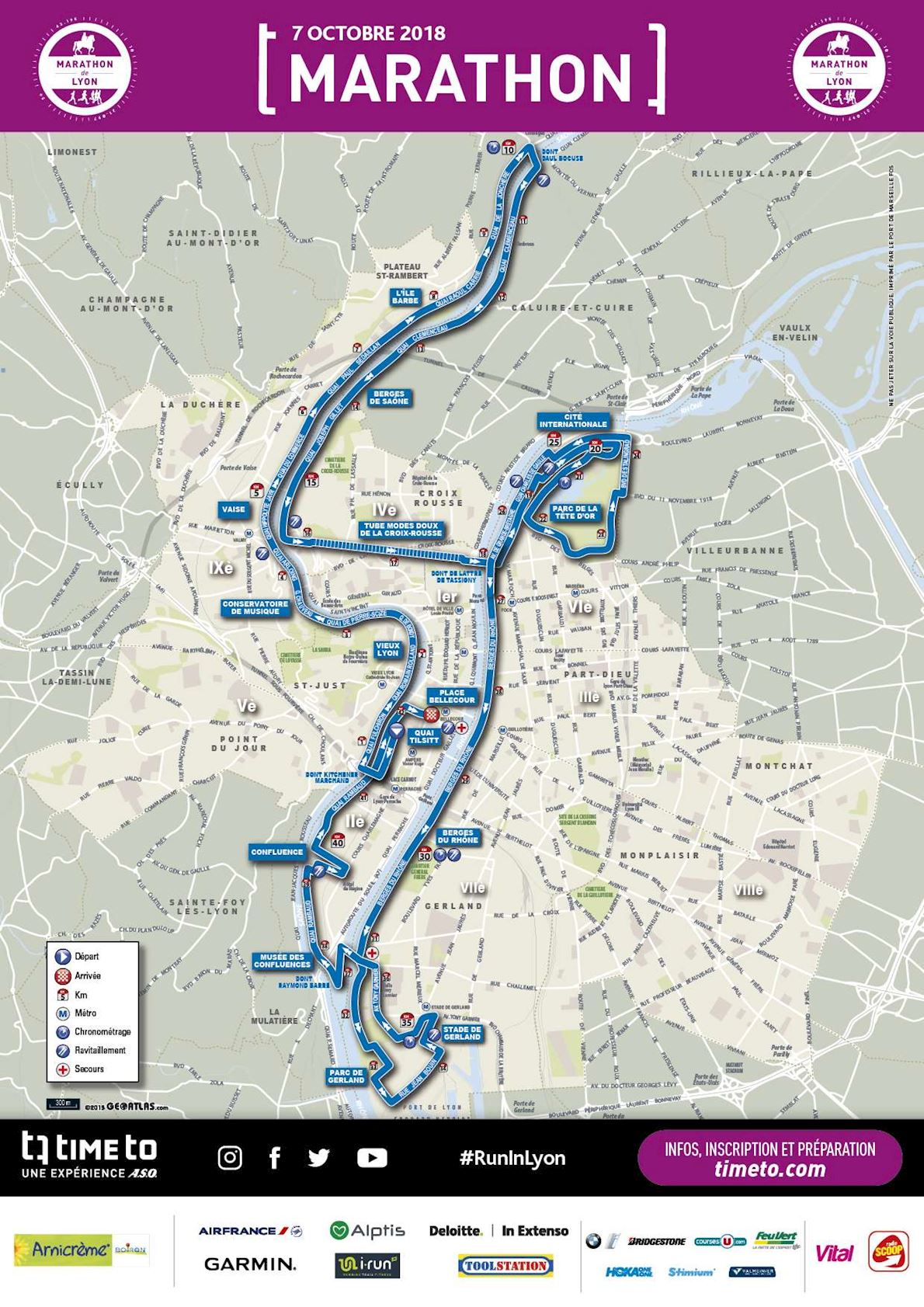 Run in Lyon Route Map