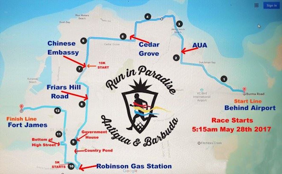 Run in Paradise Route Map