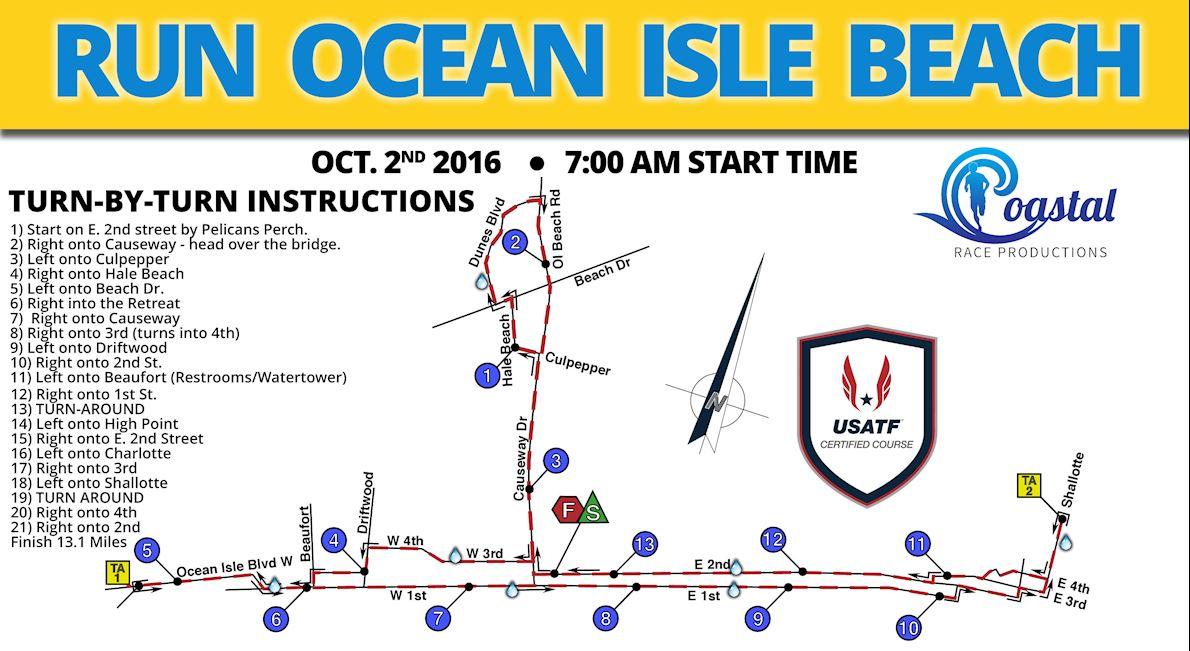 Run Ocean Isle Beach MAPA DEL RECORRIDO DE