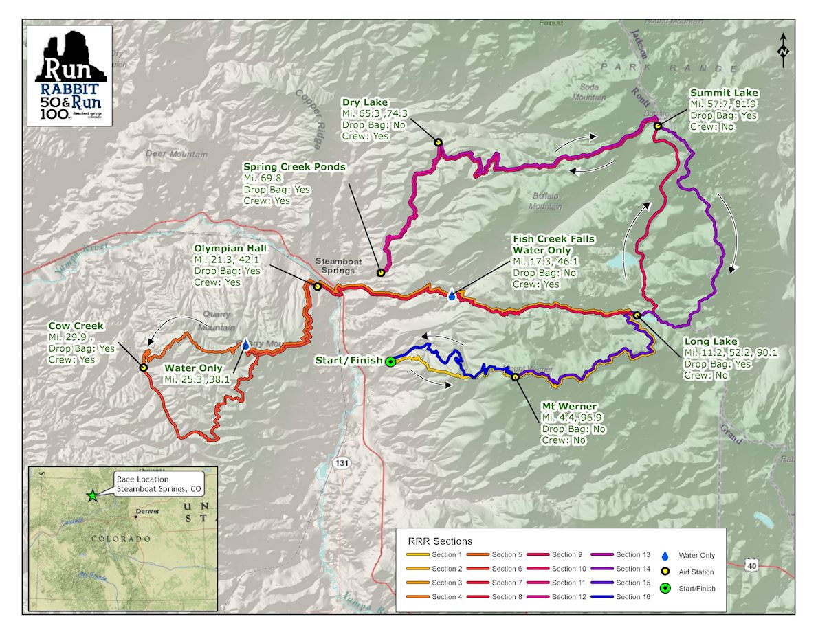 Run Rabbit Run 50 & 100 Mile  UltraMarathons Route Map