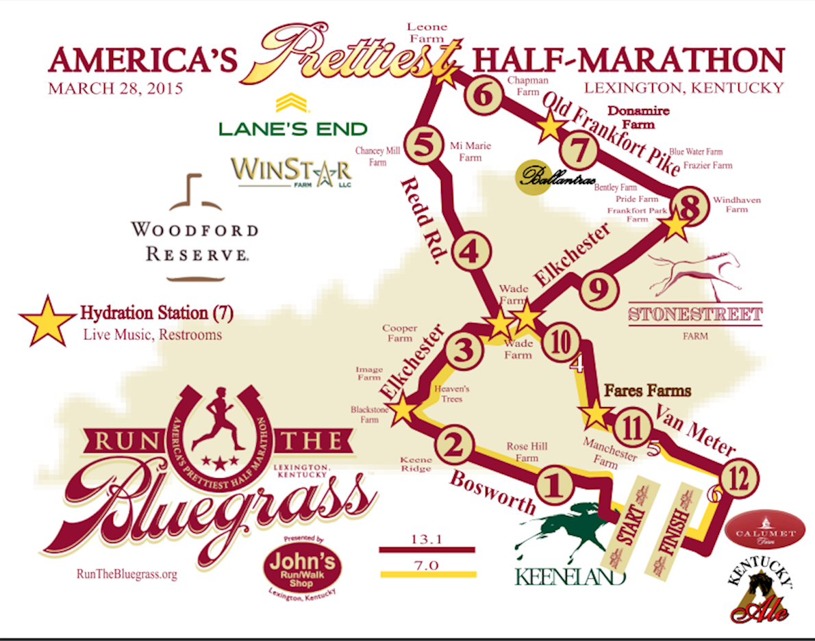 Run the Bluegrass Half Marathon Mappa del percorso