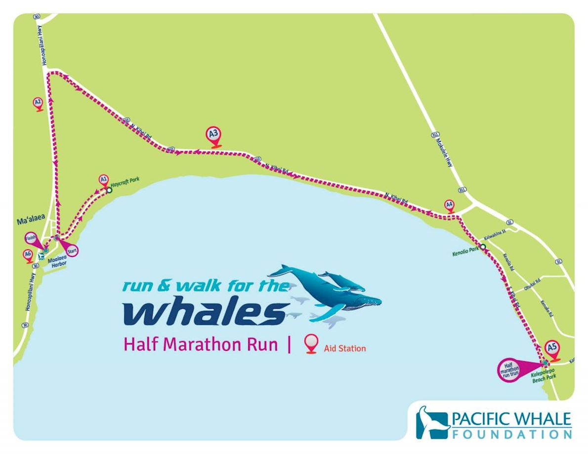 Run & Walk for the Whales Half Marathon Mappa del percorso