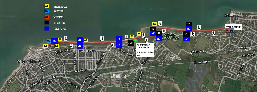 Run Whitstable & Herne Bay Summer 5k and 10k Route Map
