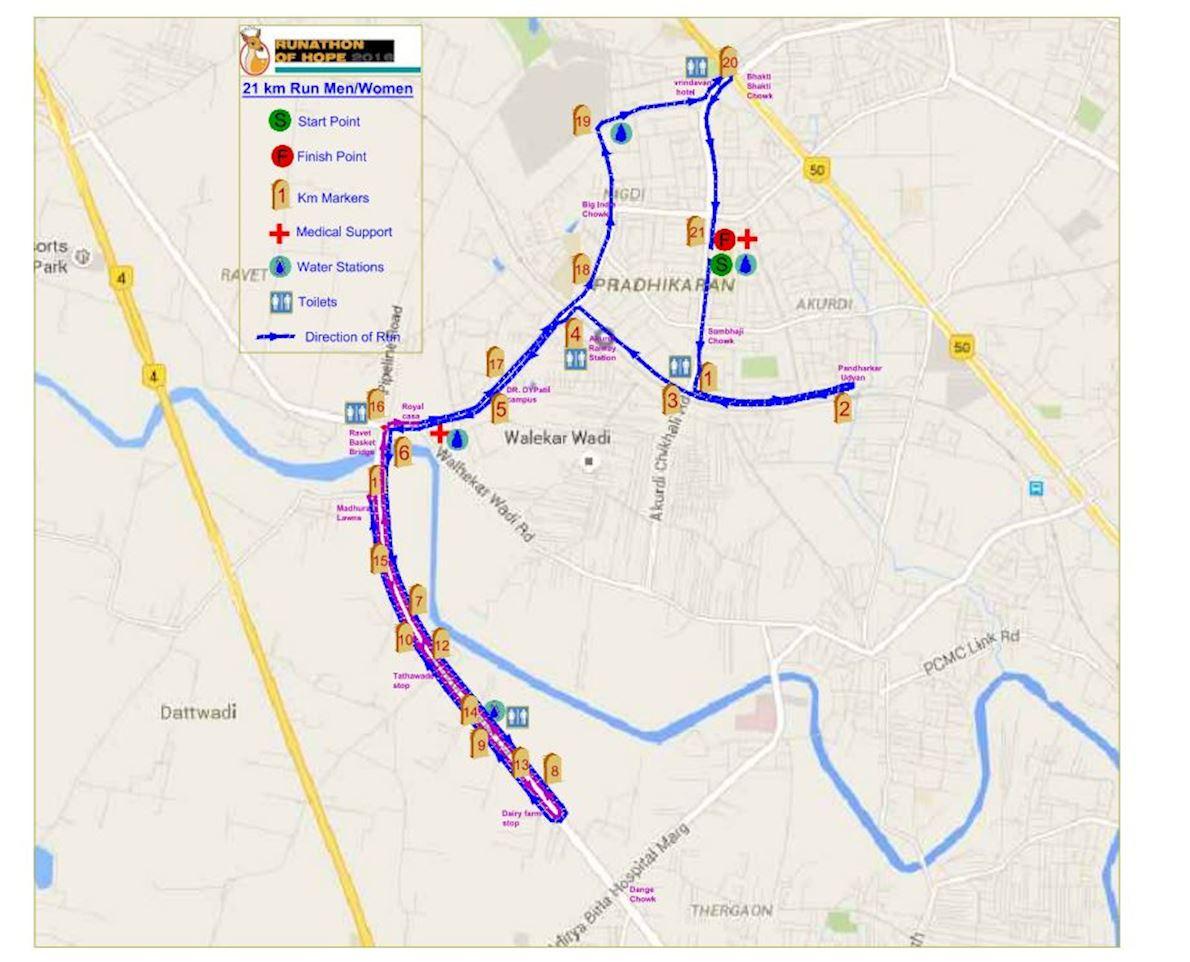 Runathon of Hope Route Map
