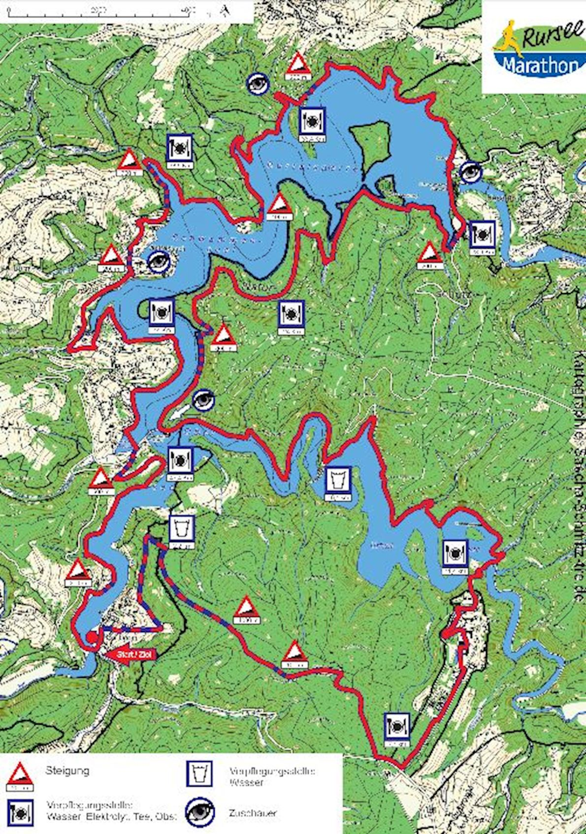 Rursee Marathon Routenkarte
