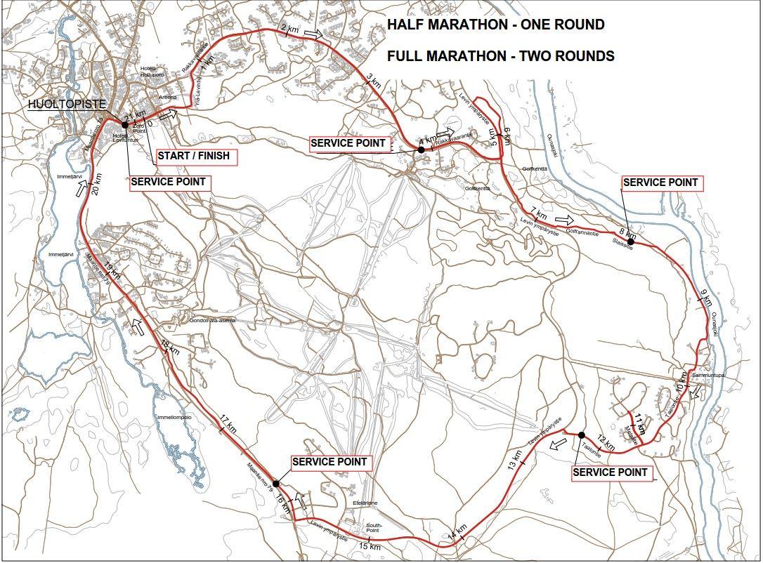 Ruska Marathon Mappa del percorso