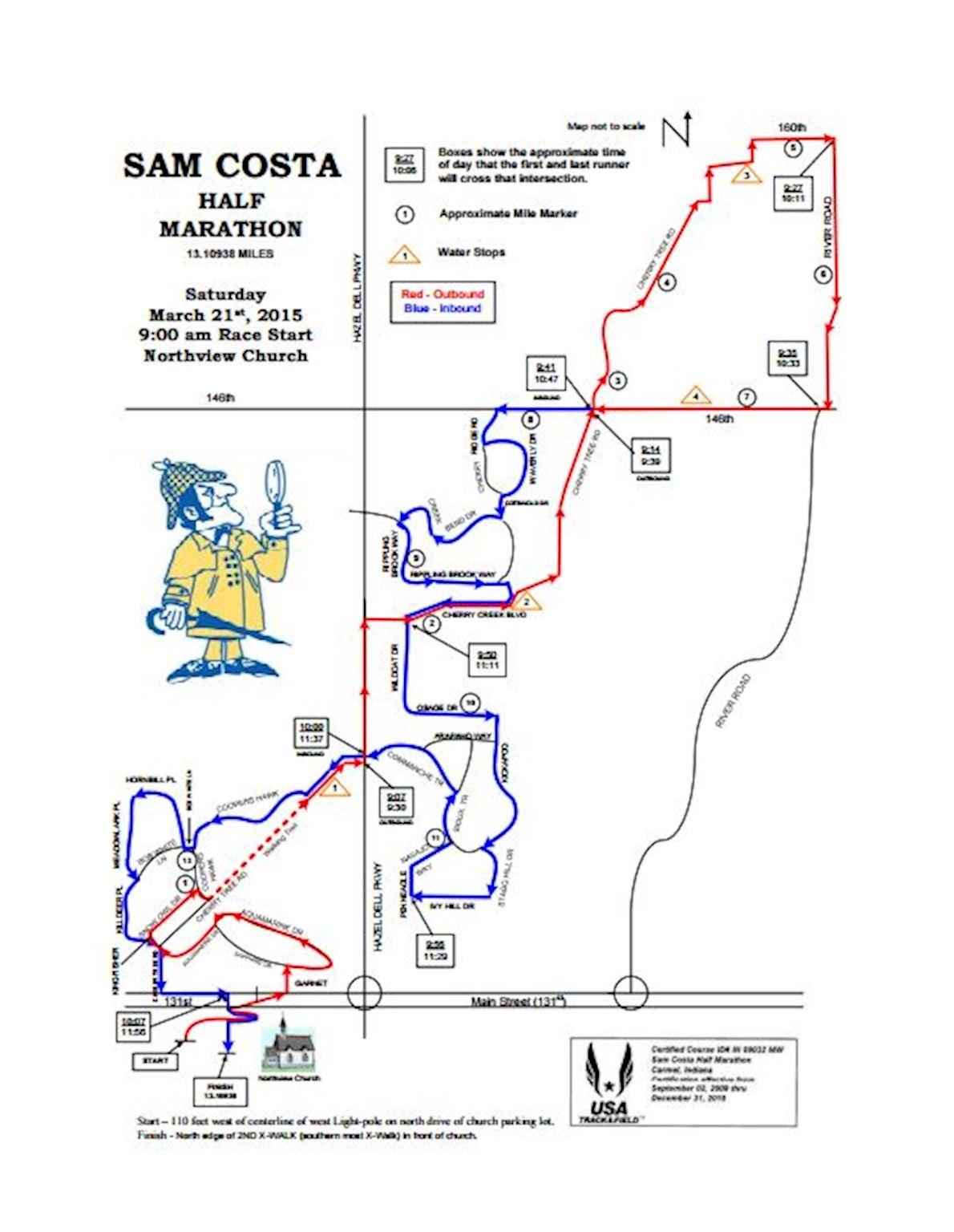 Sam Costa Half Marathon Routenkarte