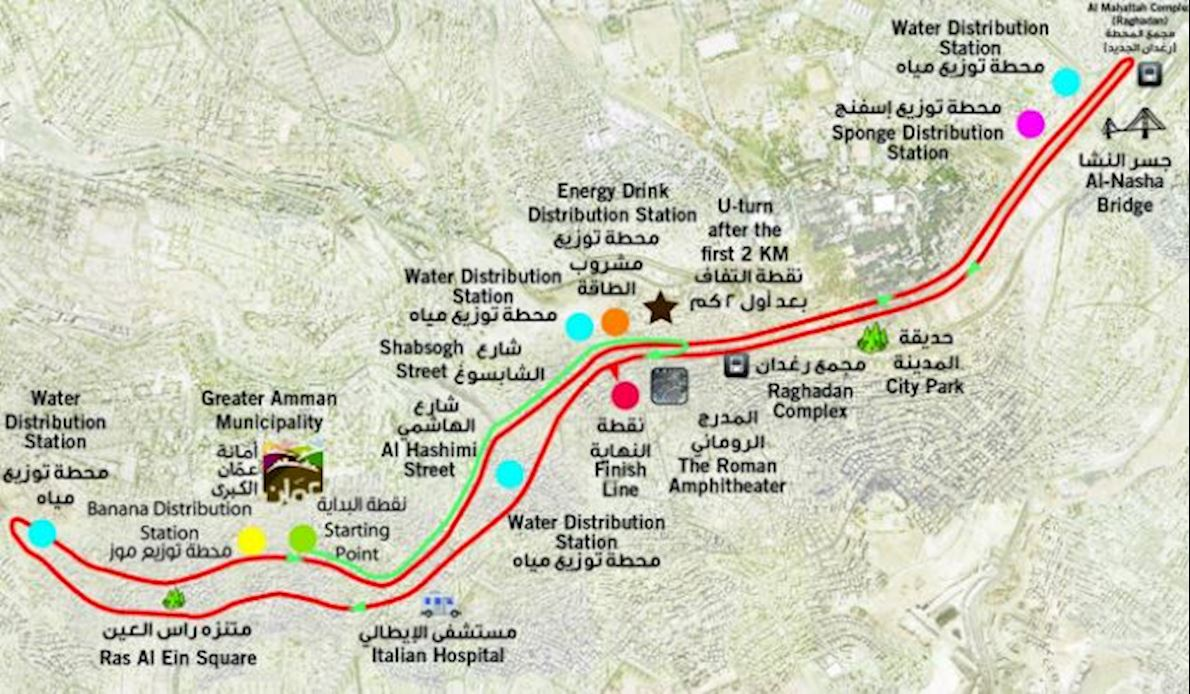 Samsung Amman International Marathon Route Map