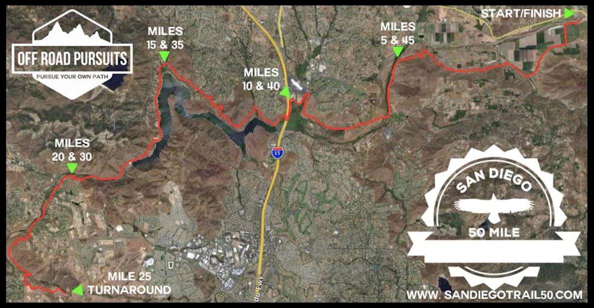 San Diego 50 Mile & Trail Marathon Route Map