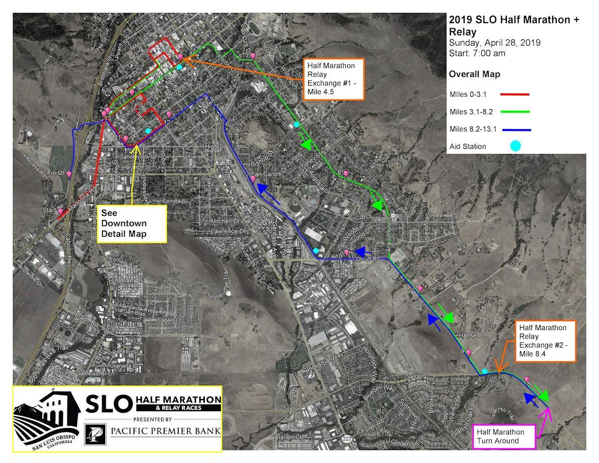 San Luis Obispo Half Marathon Mappa del percorso