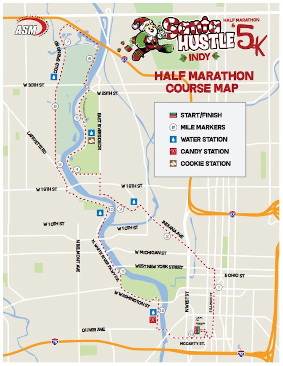 Santa Hustle Indy Half Marathon & 5K Route Map
