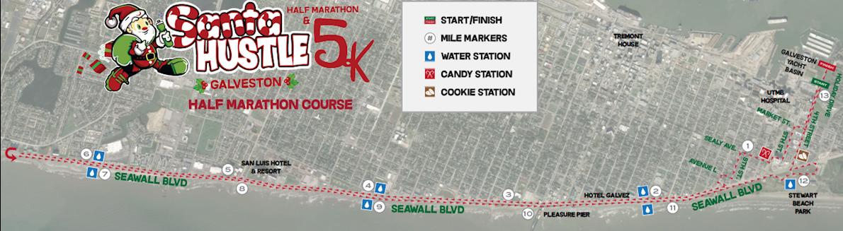 Santa Hustle Half Marathon & 5k Galveston Mappa del percorso