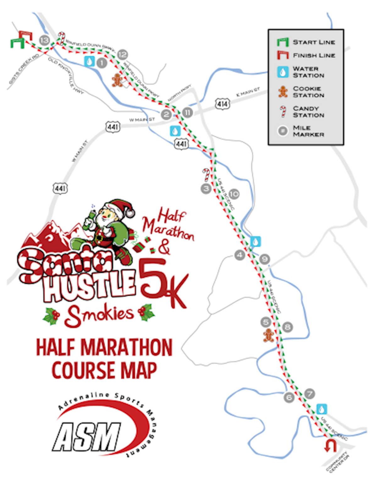 Santa Hustle Smokies 5k & Half Marathon MAPA DEL RECORRIDO DE