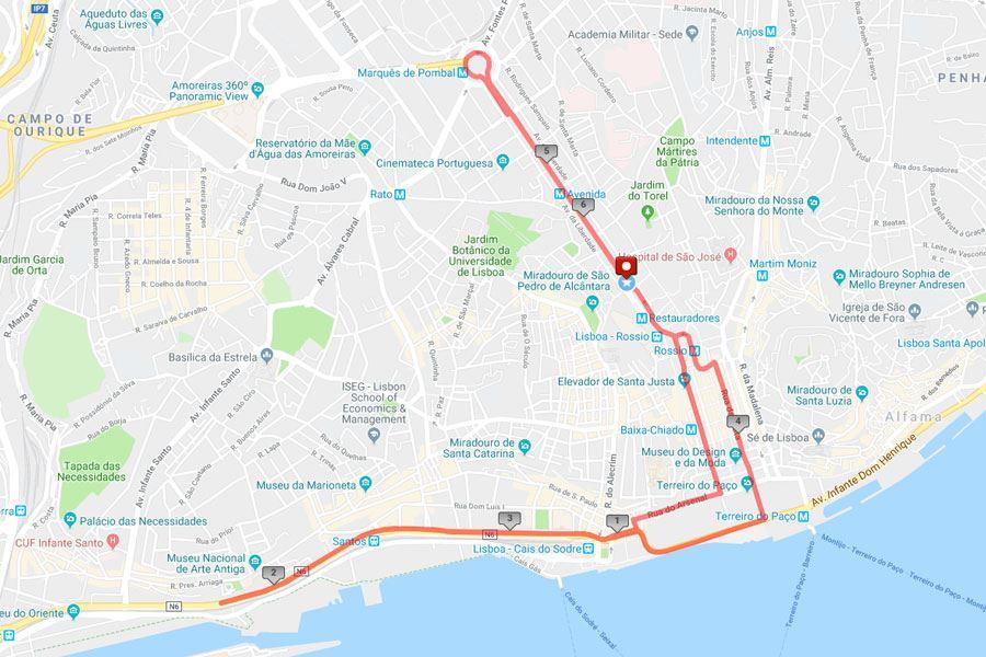 ECI São Silvestre de Lisboa Route Map
