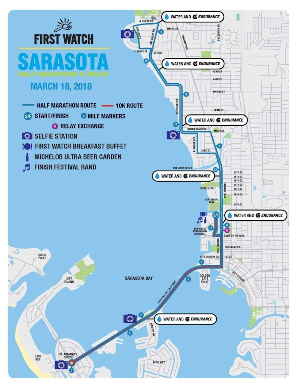 Sarasota Music Half Marathon Mappa del percorso