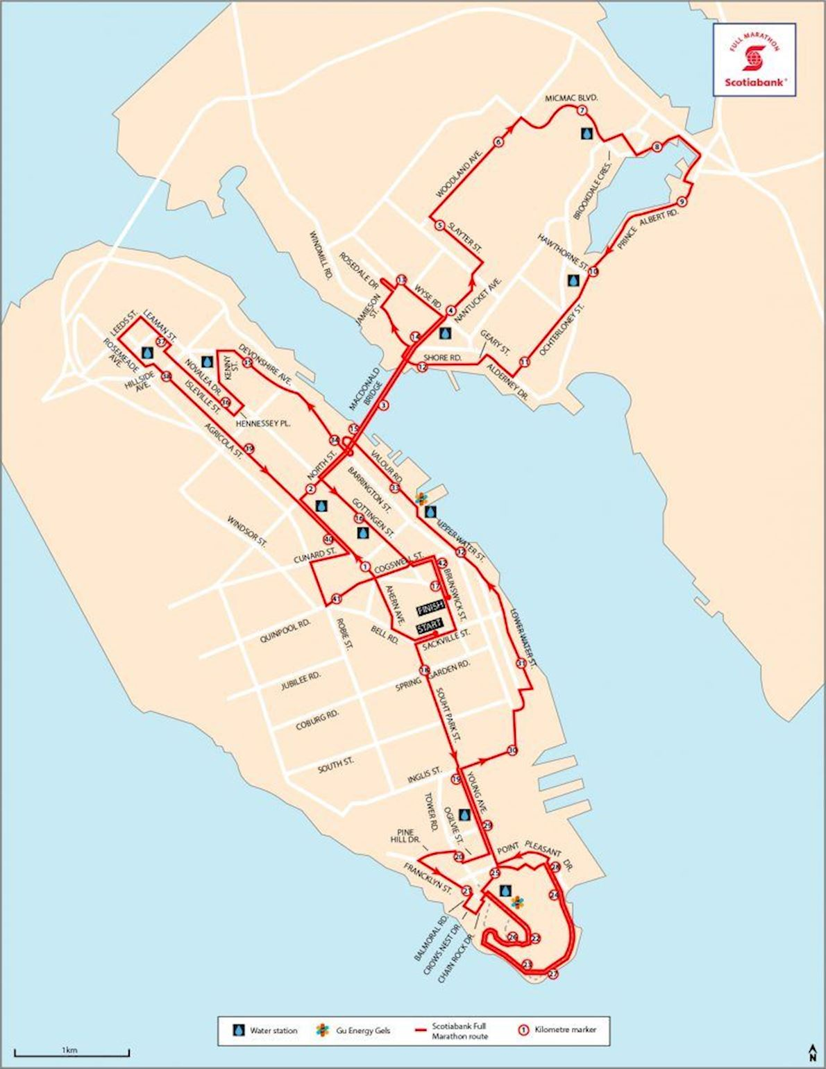 Blue Nose International Marathon Mappa del percorso