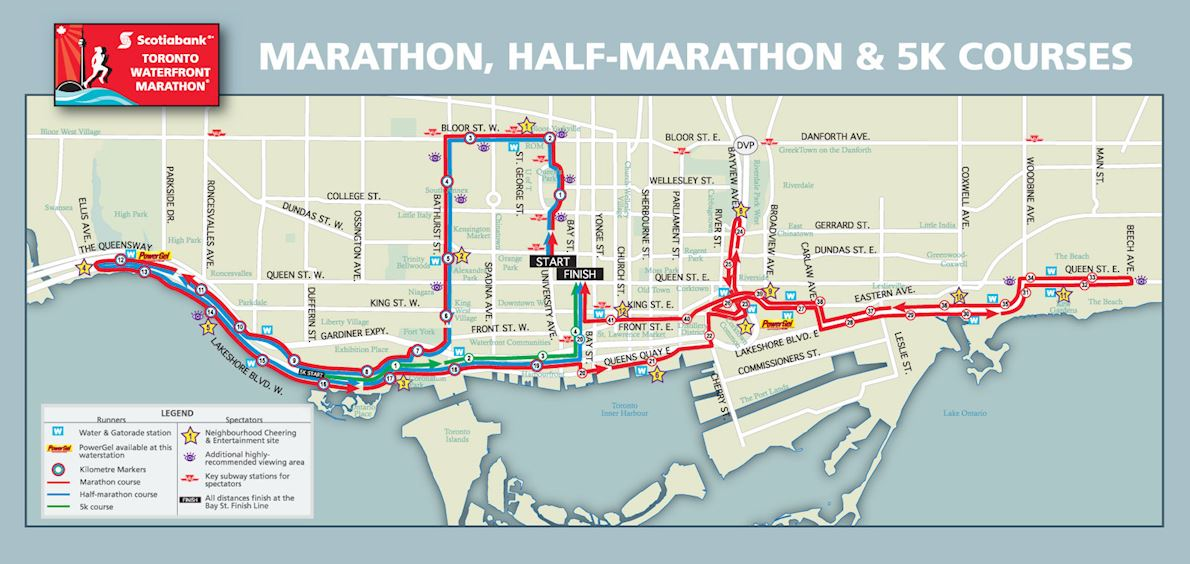 Scotiabank Toronto Waterfront Marathon 路线图