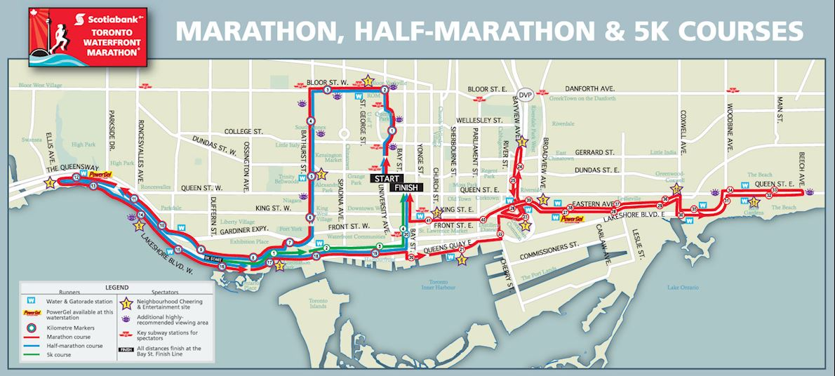 Scotiabank Toronto Waterfront Marathon Route Map