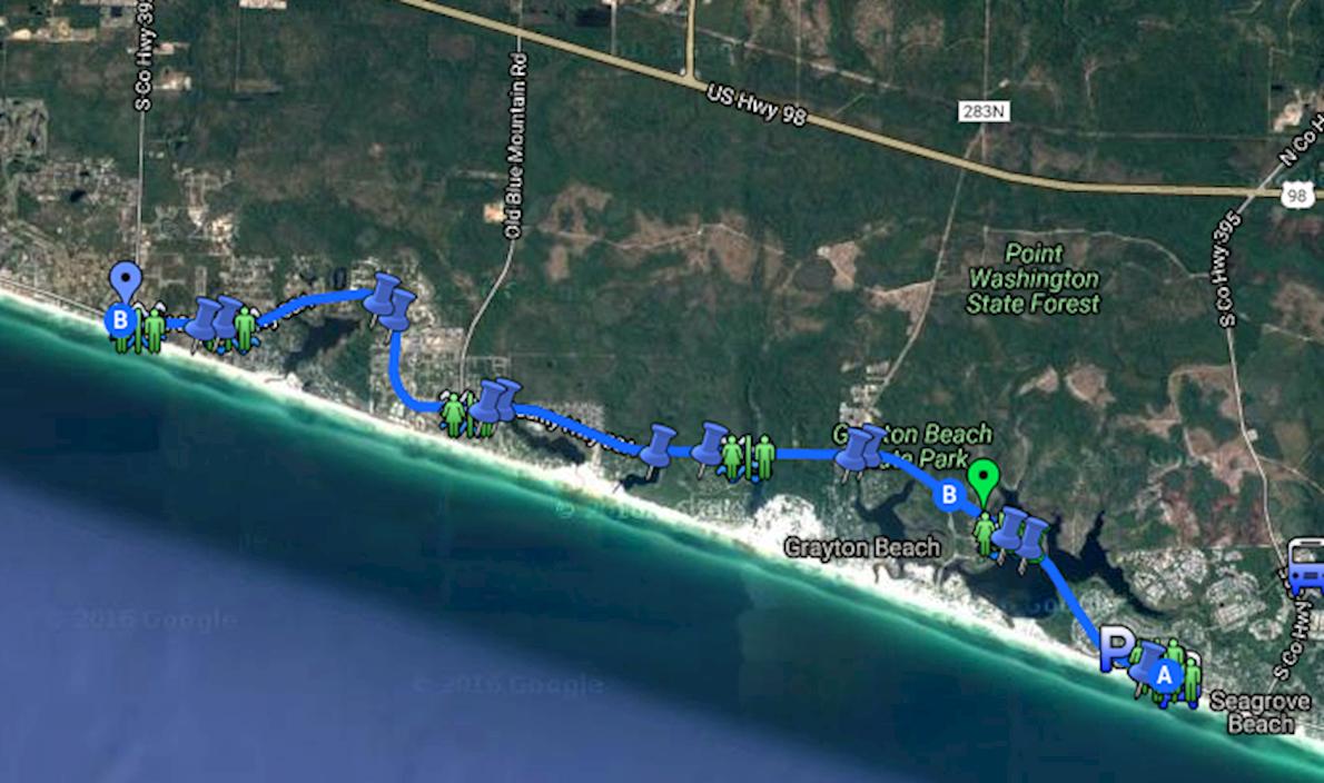 Route Map Seaside School Half Marathon