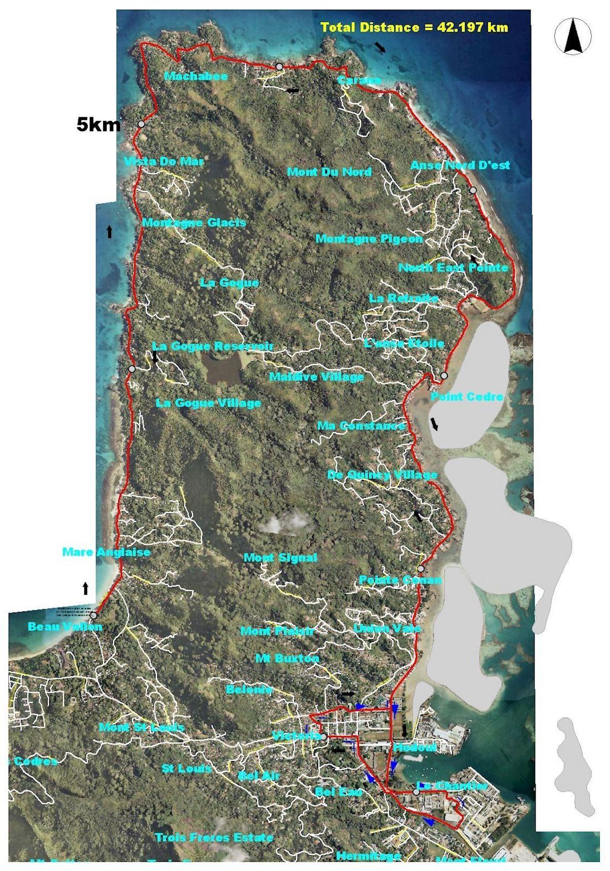Seychelles Eco-Friendly marathon MAPA DEL RECORRIDO DE