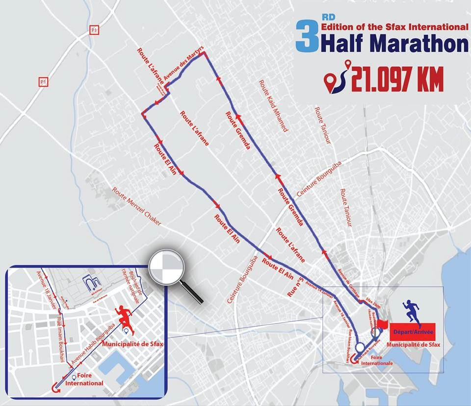Sfax International Half Marathon Route Map