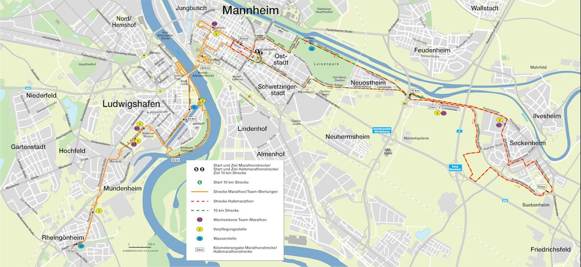 SRH Dämmer Marathon Route Map