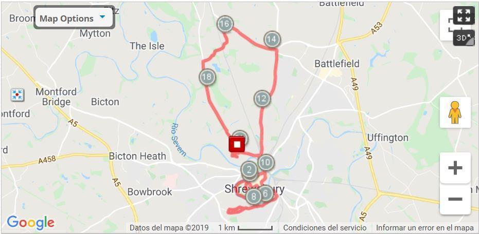 Shrewsbury Half Marathon Route Map