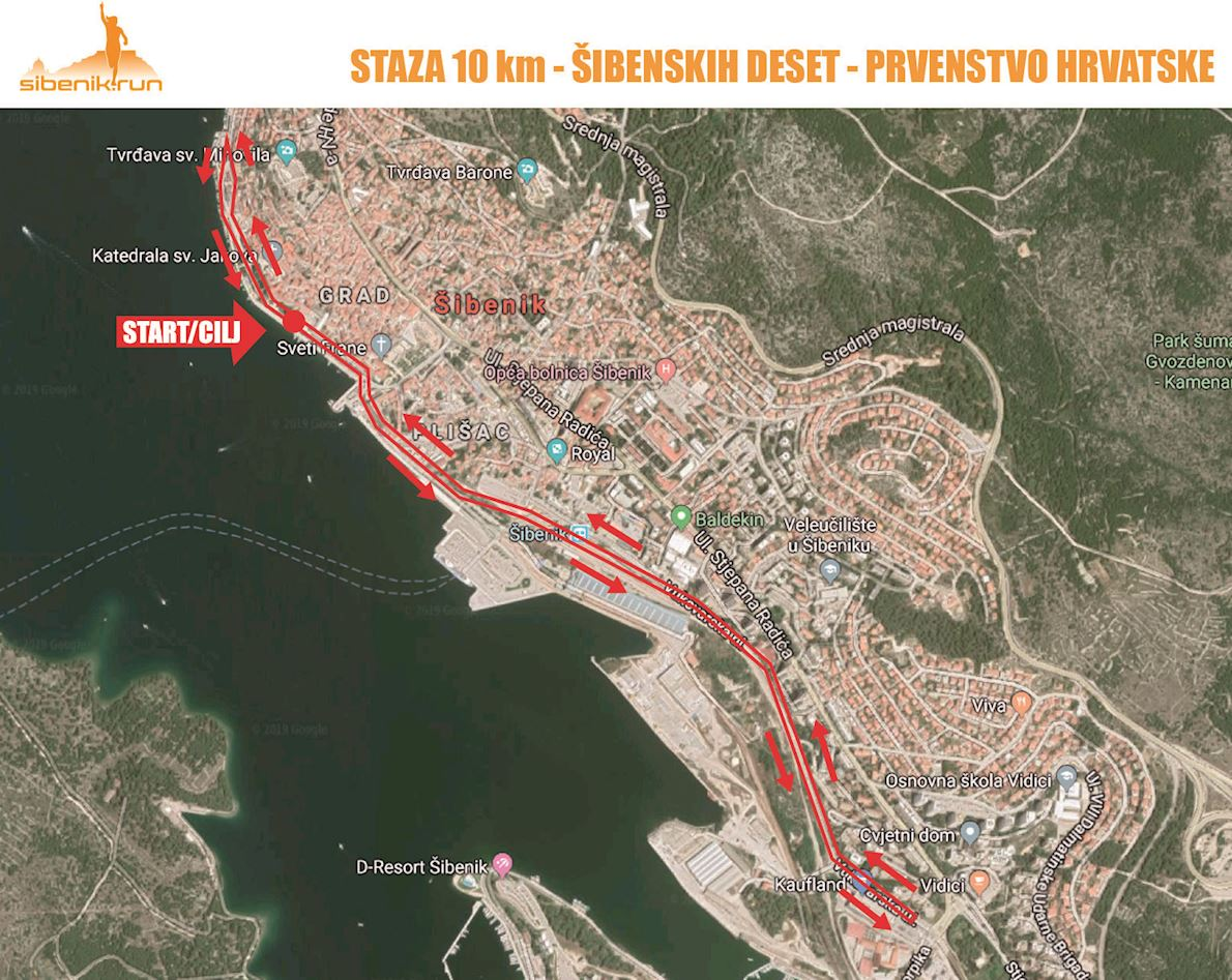 Sibenik 10K Race Route Map