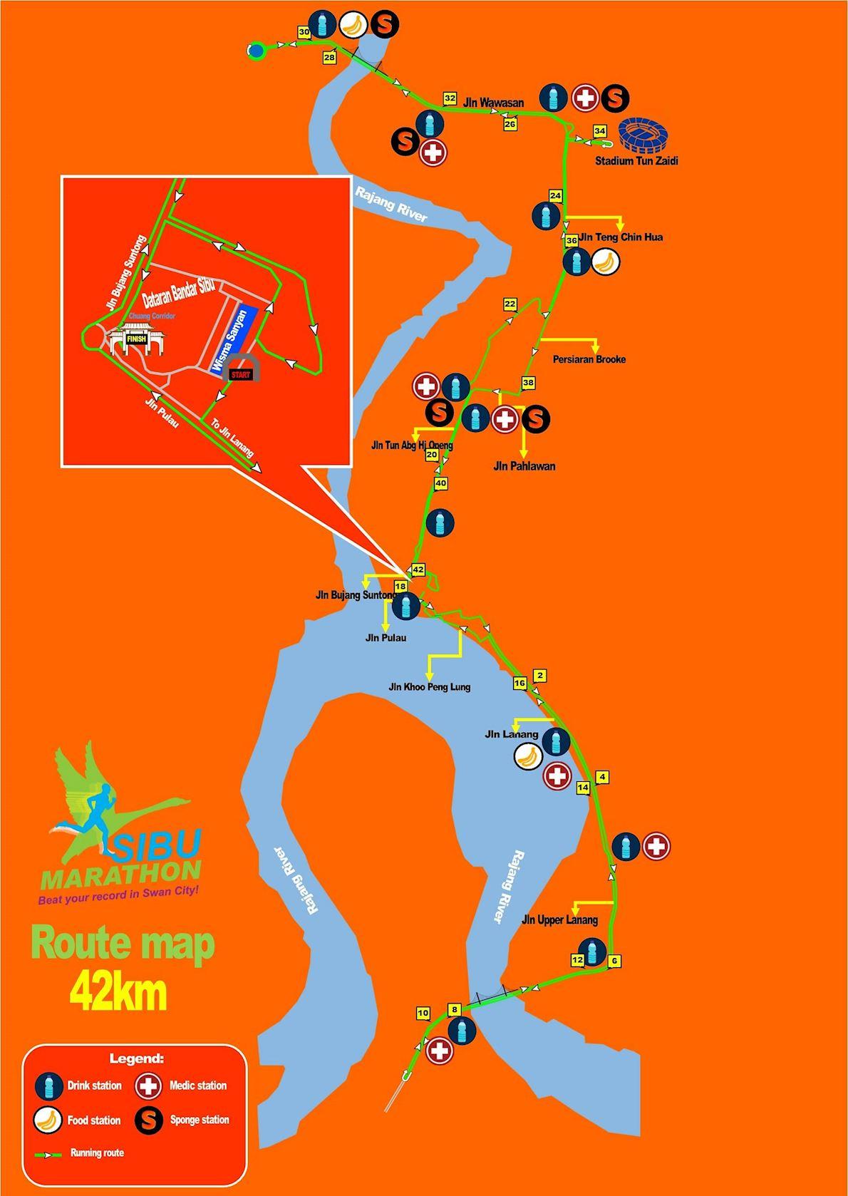Sibu Marathon Mappa del percorso
