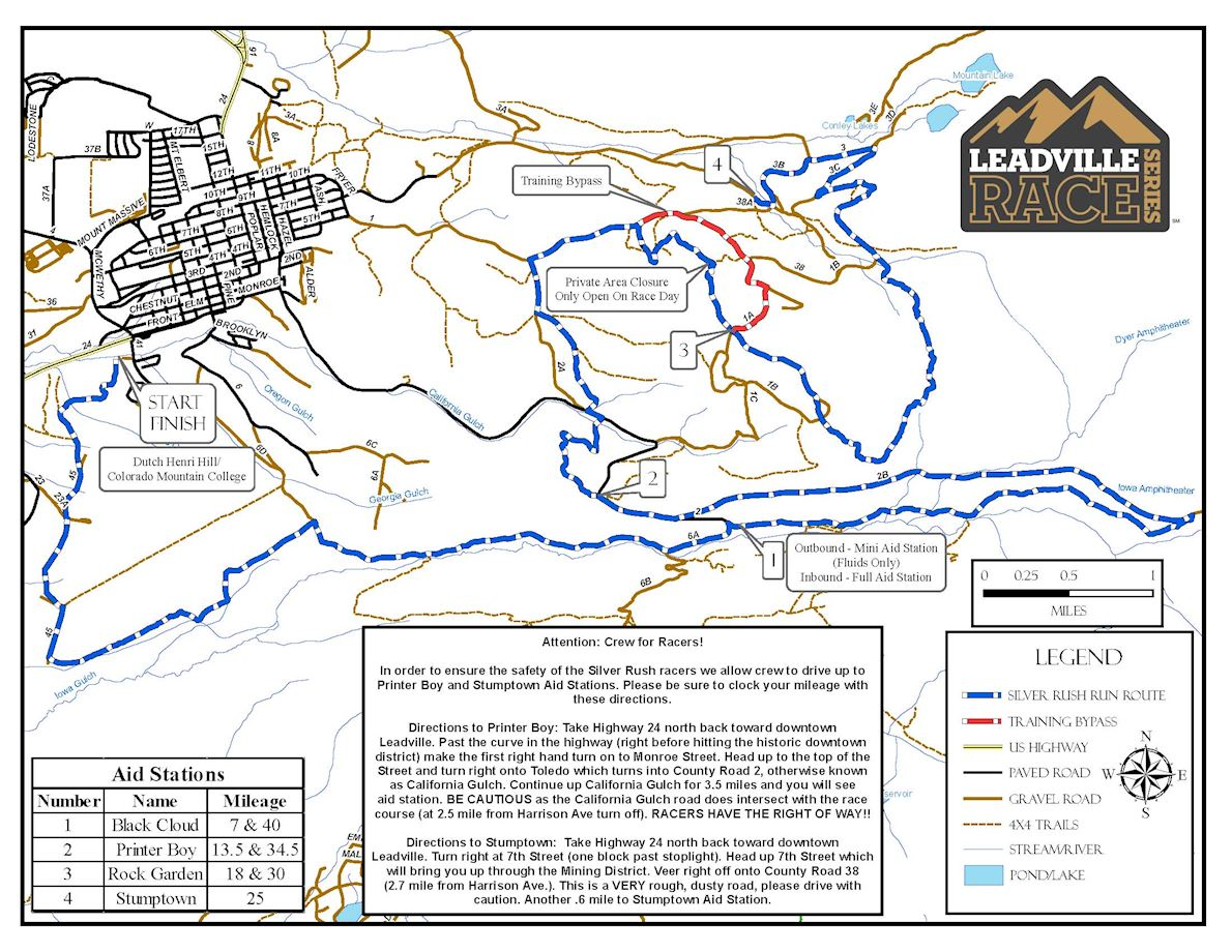 Leadville Silver Rush 50 Route Map