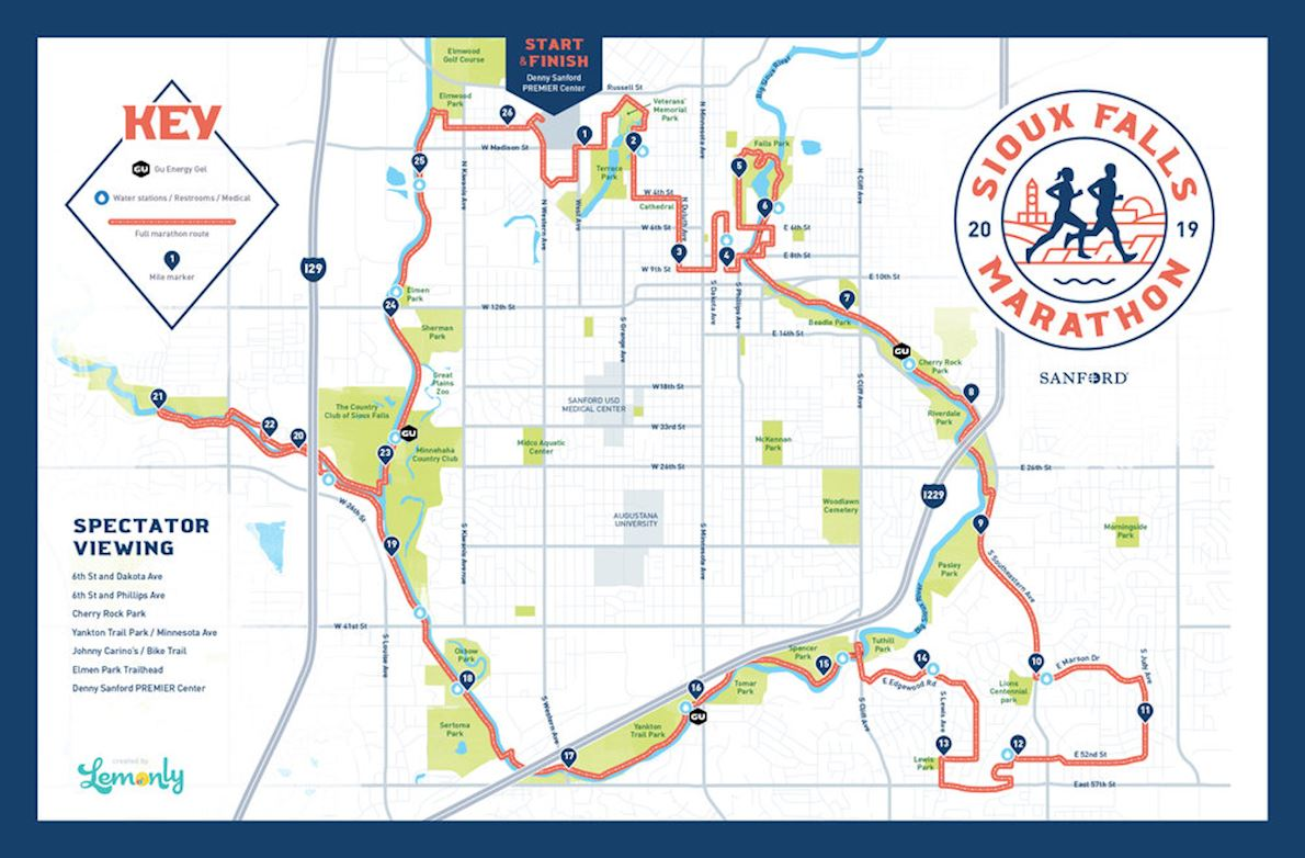 Sioux Falls Marathon MAPA DEL RECORRIDO DE