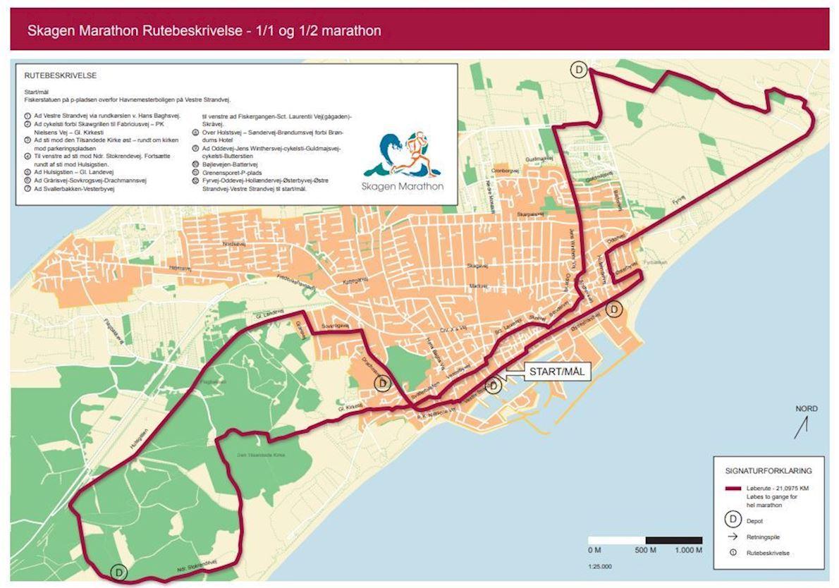 Skagen Marathon 路线图