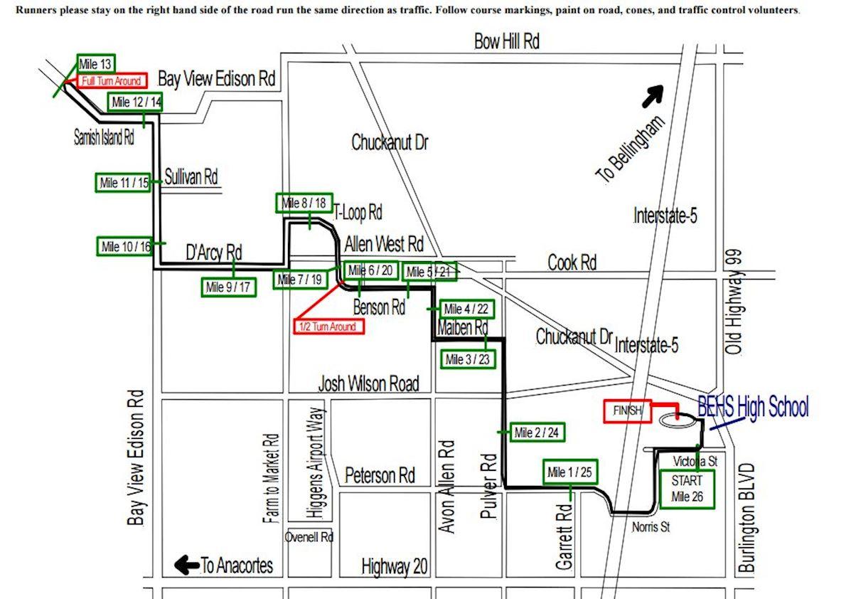 Skagit Flats Marathon Mappa del percorso