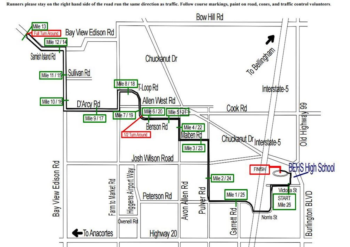 Skagit Flats Marathon Route Map
