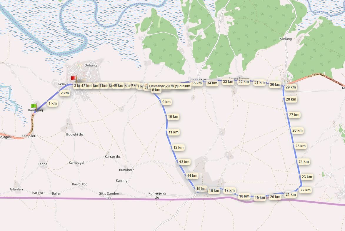 Smiling Villages Int'l Marathon, The Gambia Route Map