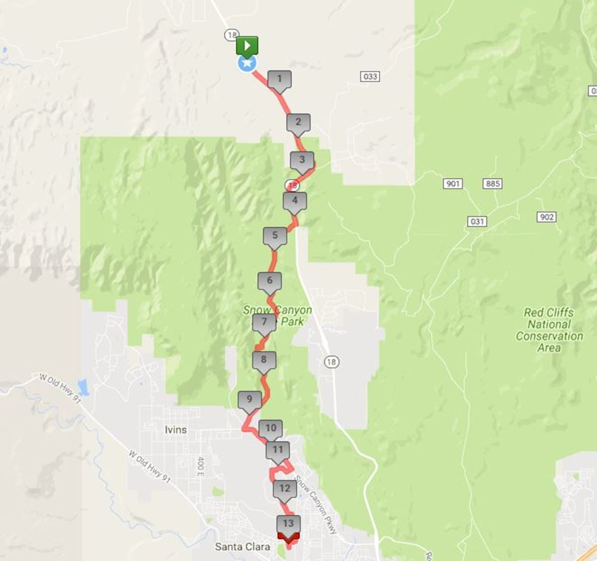 Snow Canyon Half Marathon Route Map