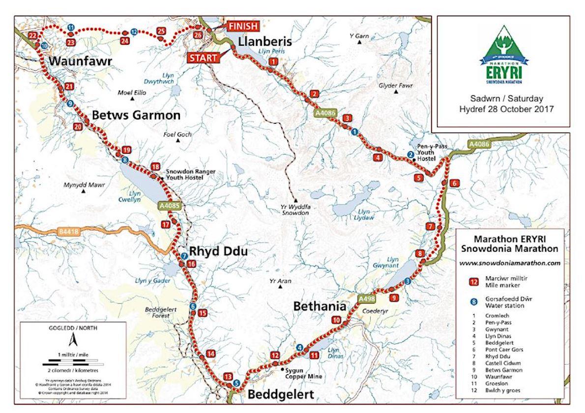 Snowdonia Marathon Eryri Routenkarte