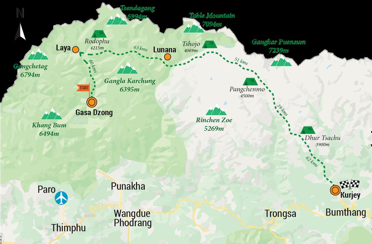 Snowman Run Bhutan Route Map