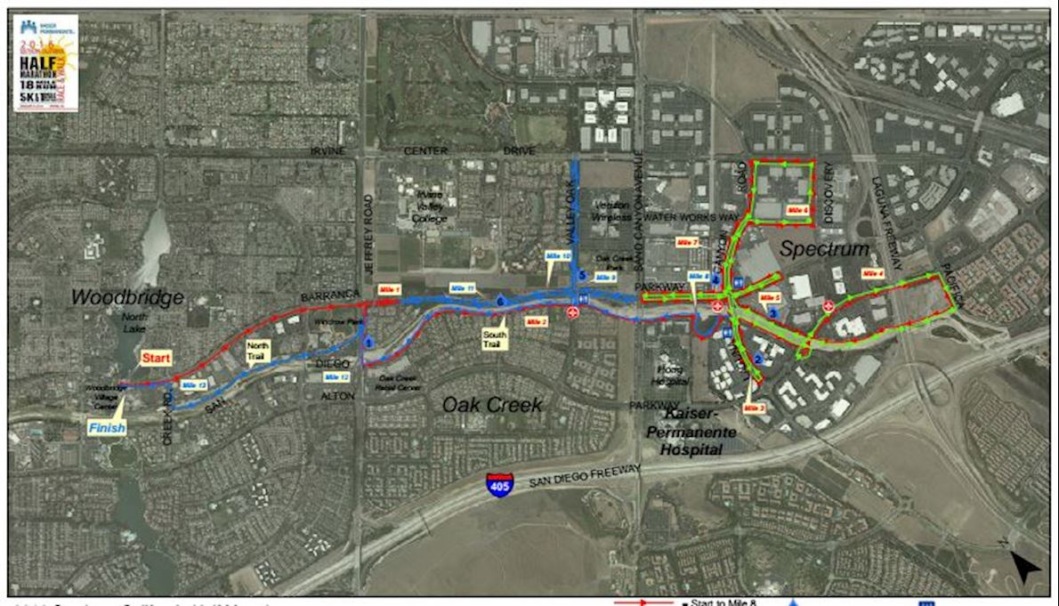 Irvine Half Marathon Route Map