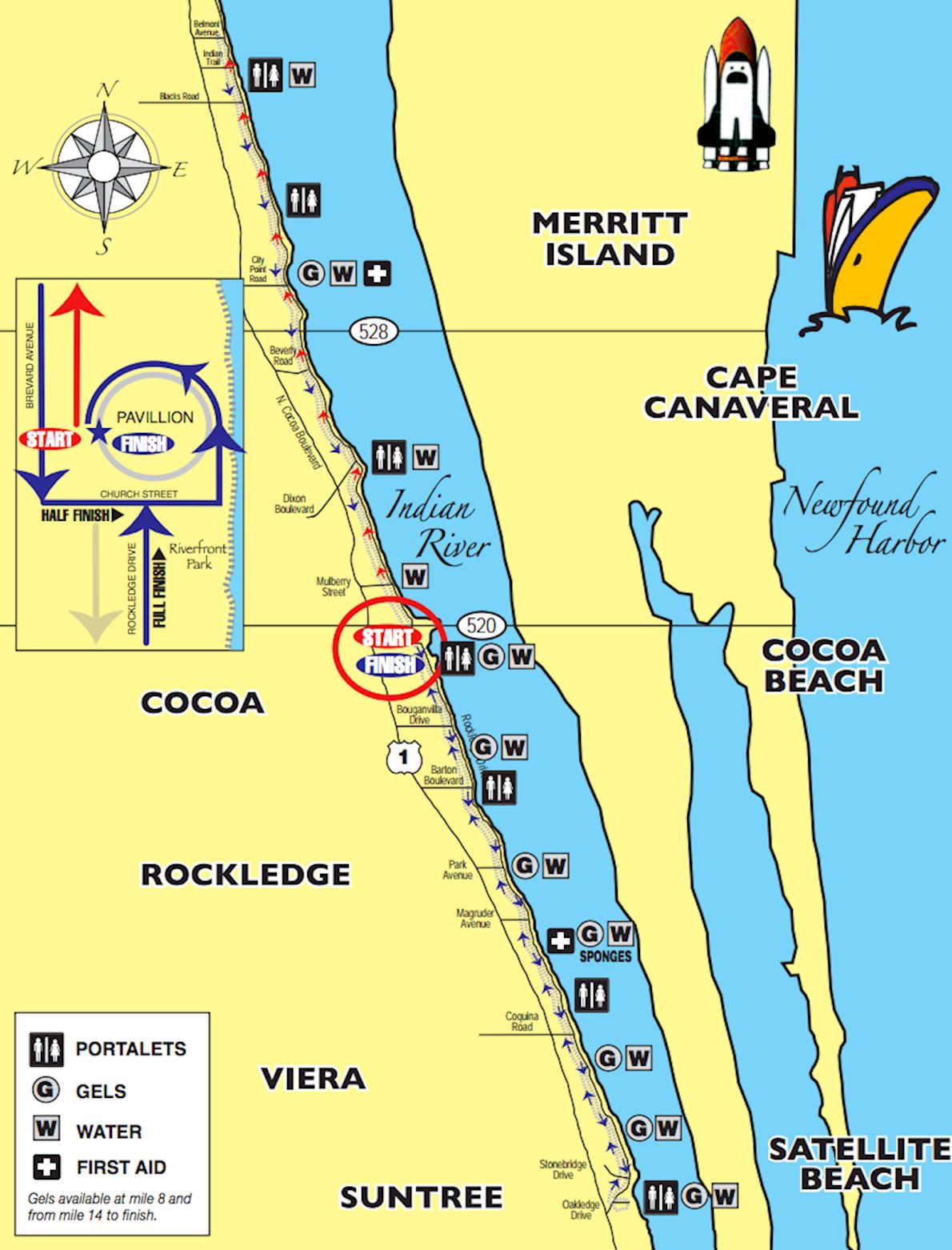 Space Coast Marathon & Half-Marathon Route Map
