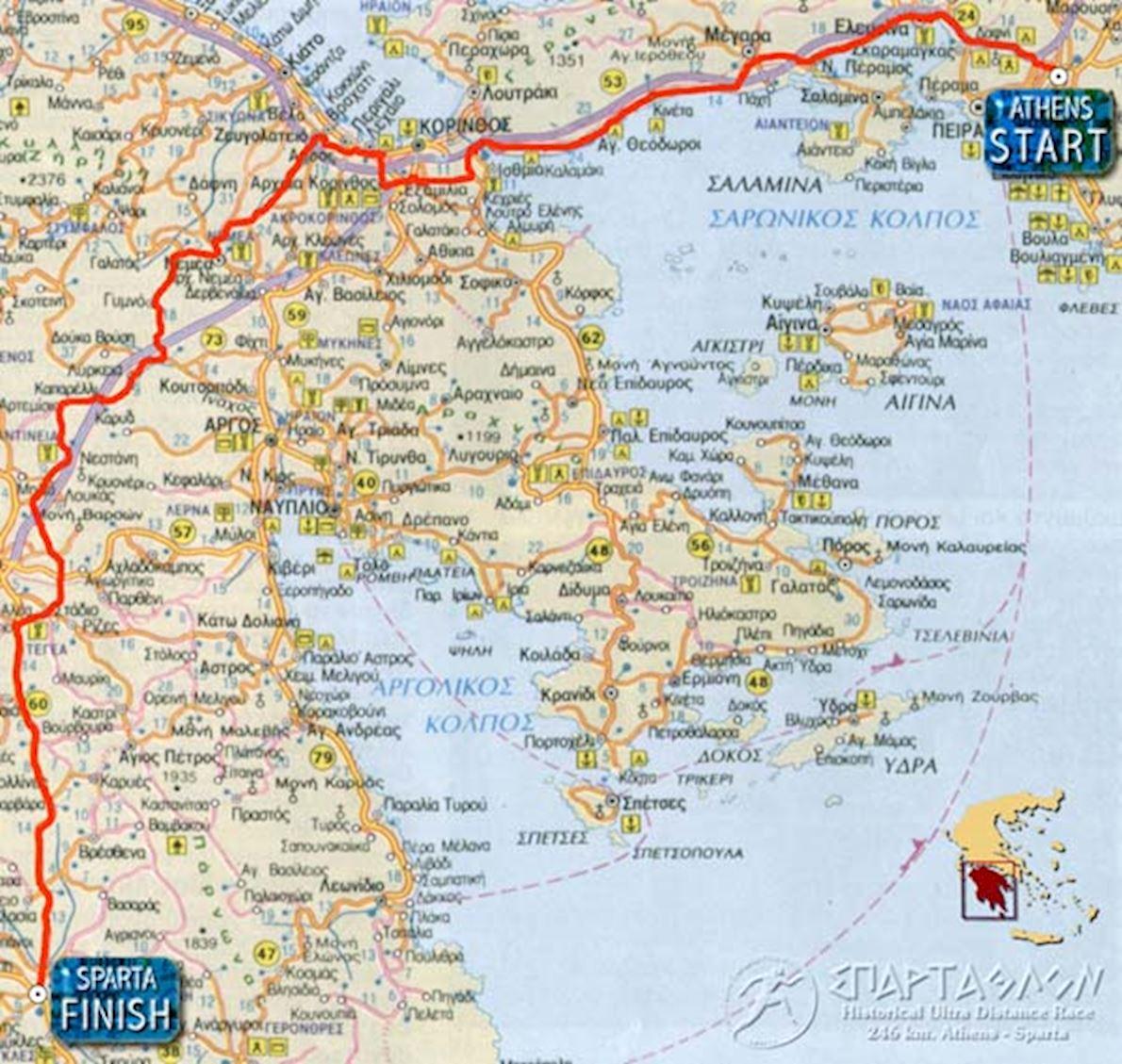 Spartathlon Route Map