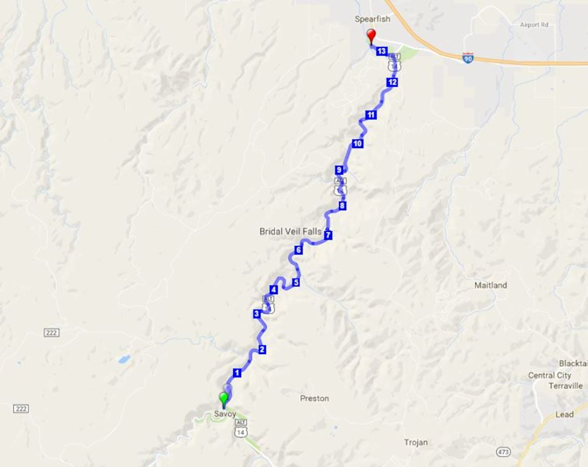 CASA Spearfish Canyon Half Marathon & 5K Route Map