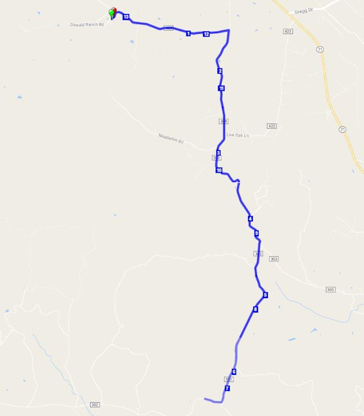 Spicewood Vineyards Half Marathon & 10K Routenkarte