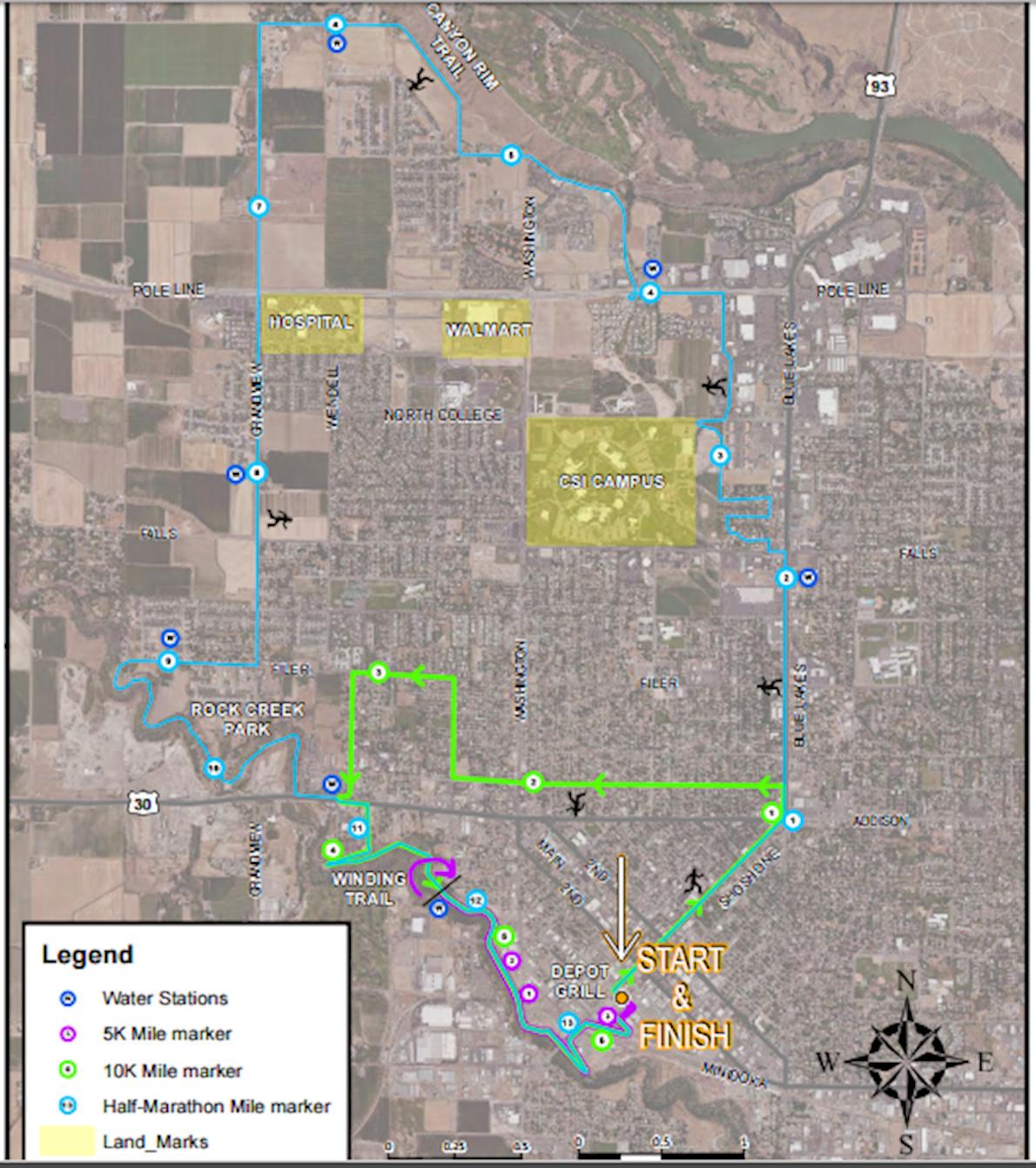 Spirit of the Magic Valley Half Marathon and 5K MAPA DEL RECORRIDO DE