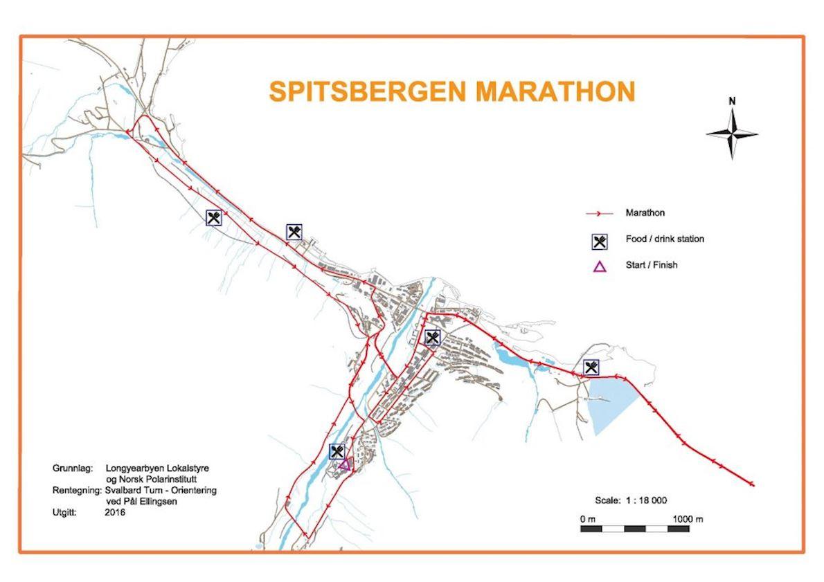 Spitsbergen Marathon MAPA DEL RECORRIDO DE