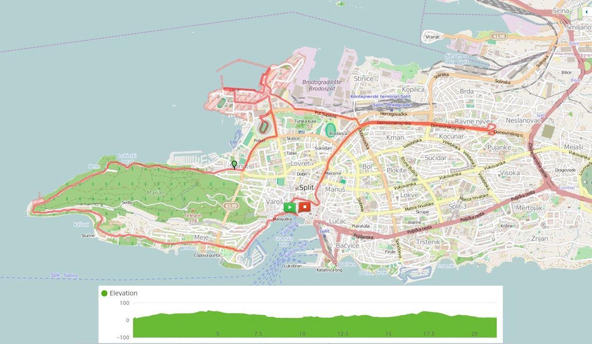 Split Half Marathon Route Map