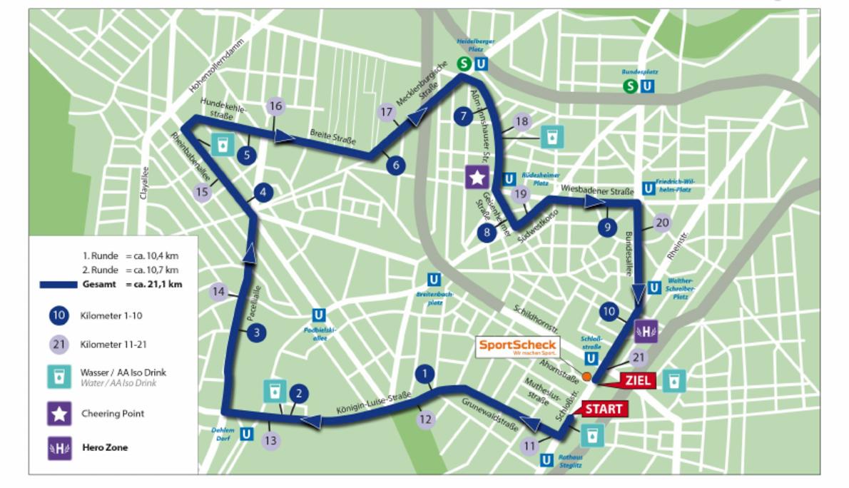 SportScheck Berliner Stadtlauf 路线图