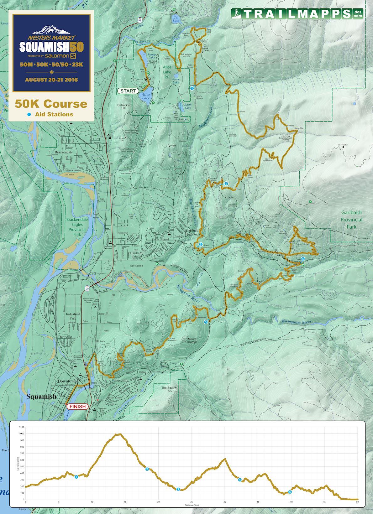 Squamish 50K MAPA DEL RECORRIDO DE