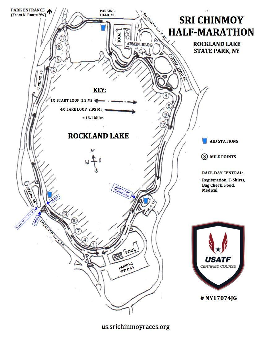 Sri Chinmoy Half-Marathon at Rockland Lake Route Map
