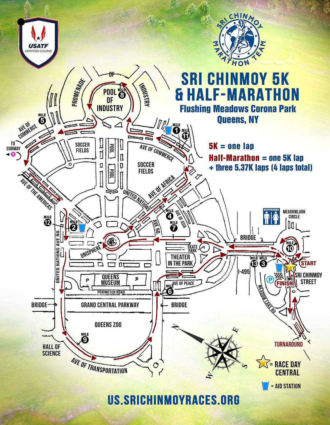 Sri Chinmoy Half-Marathon in Queens 路线图
